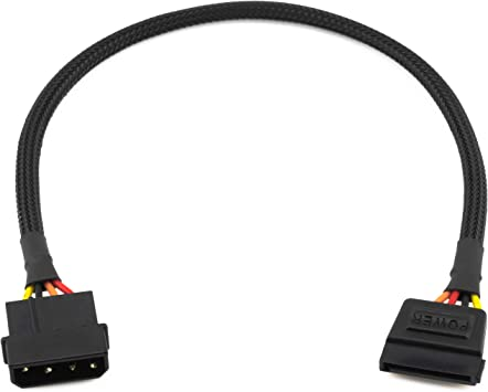 CRJ 4-Pin Molex Male to Dual SATA 15-Pin Female Power Connectors Sleeved Y Splitter Cable