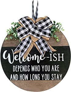 Summer Festival Gnomes Welcome Sign Door Hanger Décor Wreath Seasonal Wooden Vintage Hanging Wall Decoration for Summer Plaque Ornaments Holiday Festival Outdoor (F)