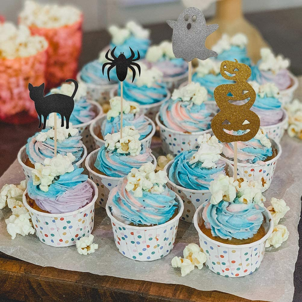6pcs Happy Halloween Cupcake Toppers Sets Cake Decoration Ghost Spider Pumpkin Bat Cat Snake Cupcake Toothpicks for Halloween Party Favors