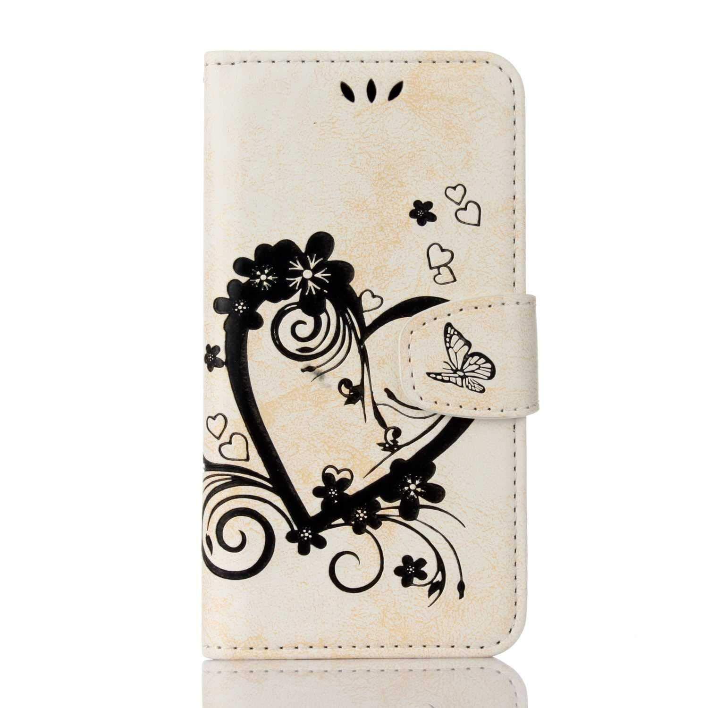 Bear Village® Coque Galaxy S7, Housse à Rabat en Cuir pour Samsung Galaxy S7, Anti Rayures Portefeuille Coque avec Emplacements pour Cartes, Blanc