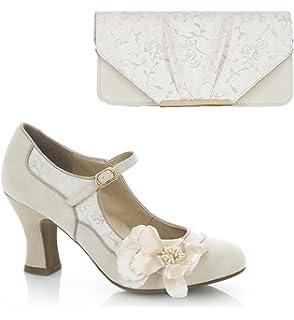 ecd616a81eed4 Ruby Shoo Women's Cream Susanna Court Shoe Pumps and Matching San ...