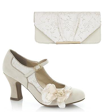 3054a8a3 Ruby Shoo Women's Cream Gold Brocade Madelaine Mary Jane Pumps & Matching  Bologna Bag UK 3