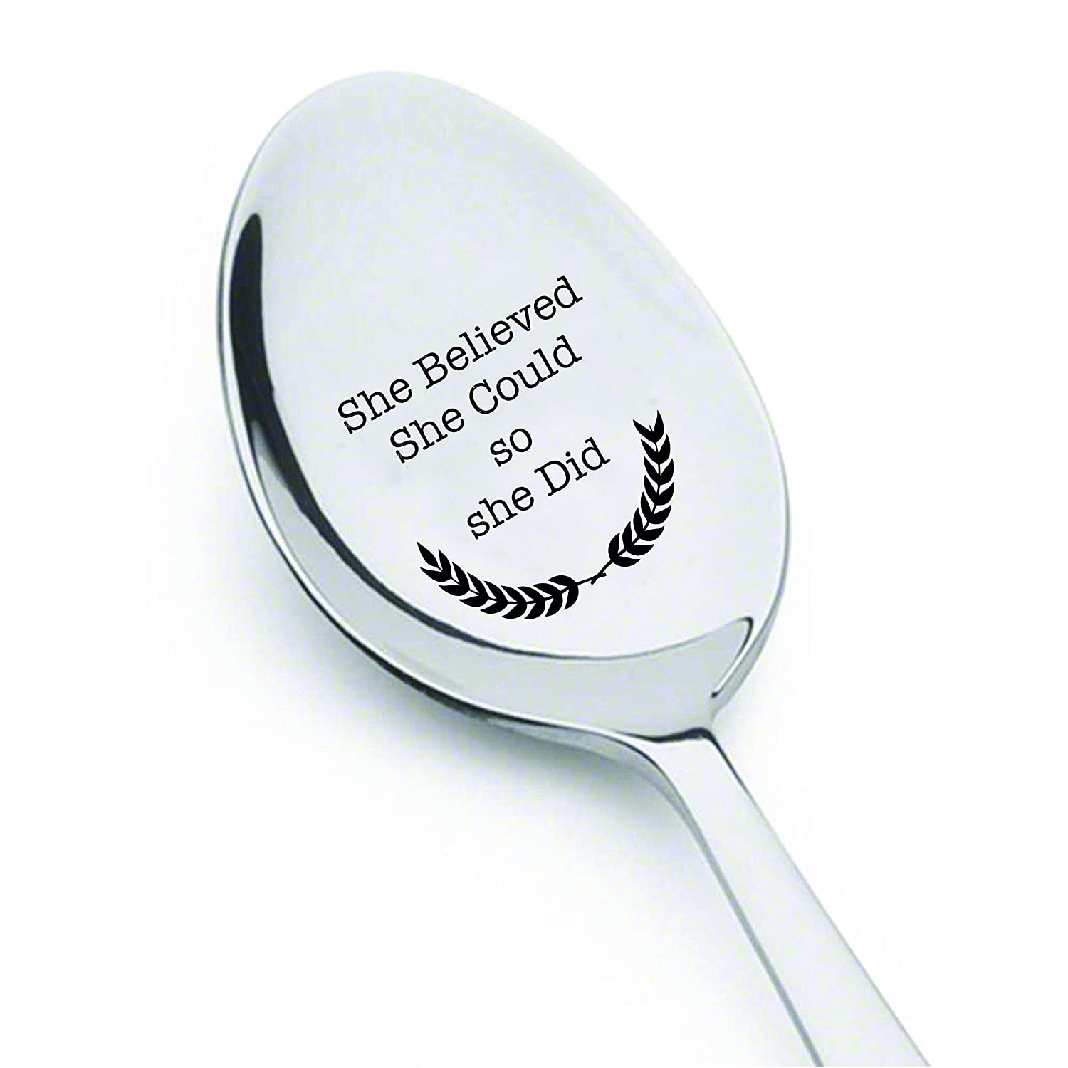 She believed she could so she did - engraved spoon - coffer lover - gift for her - Inspirational quote - Great Gift - Unique law school gift ideas for grads