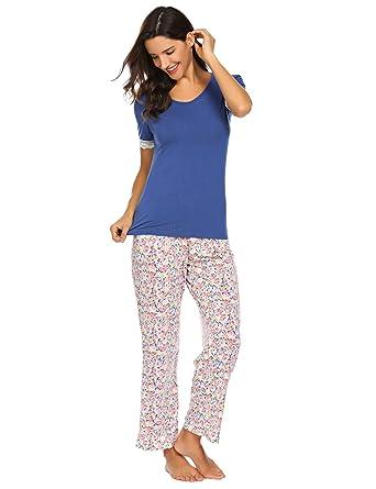 big sale 864da 08216 ADOME Schlafanzug Damen Kurzarm Pyjamas Baumwolle Jersey Nachtwäsche  Zweiteilig Oberteil+ Hosen