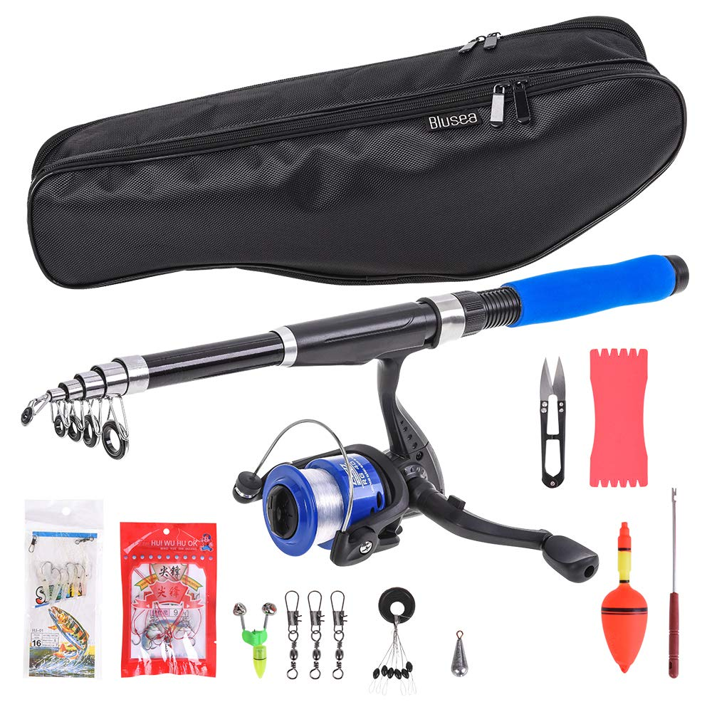 BNTTEAM Mini Spinning Reel and Rod Combos Telescopic Portable Hand Hard 99/% Carbon Fiber Sea Fishing Rod /& Reel Artificial Lures Fishing Line