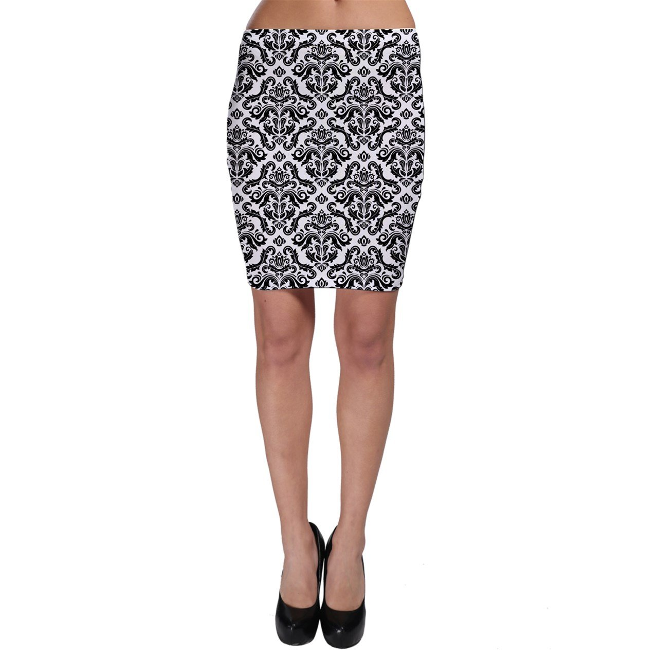 CowCow Black Oriental Fine Pattern with Damask Arabesque and Floral Bodycon Skirt