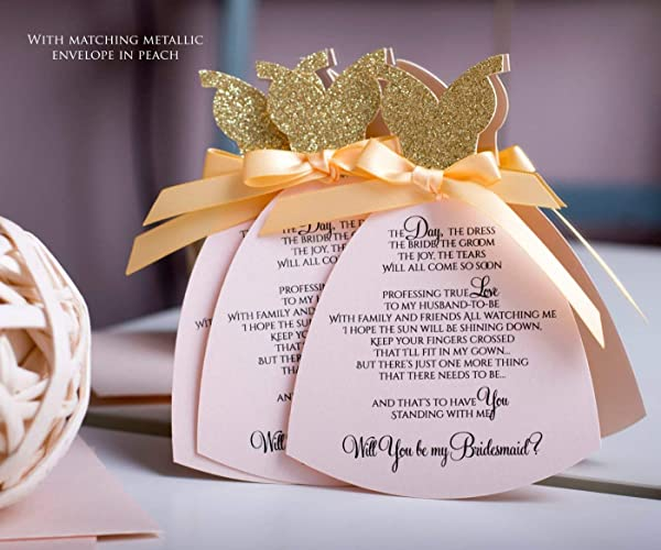 Amazon Com Will You Be My Bridesmaid Invitation Set Of 6 Luxury