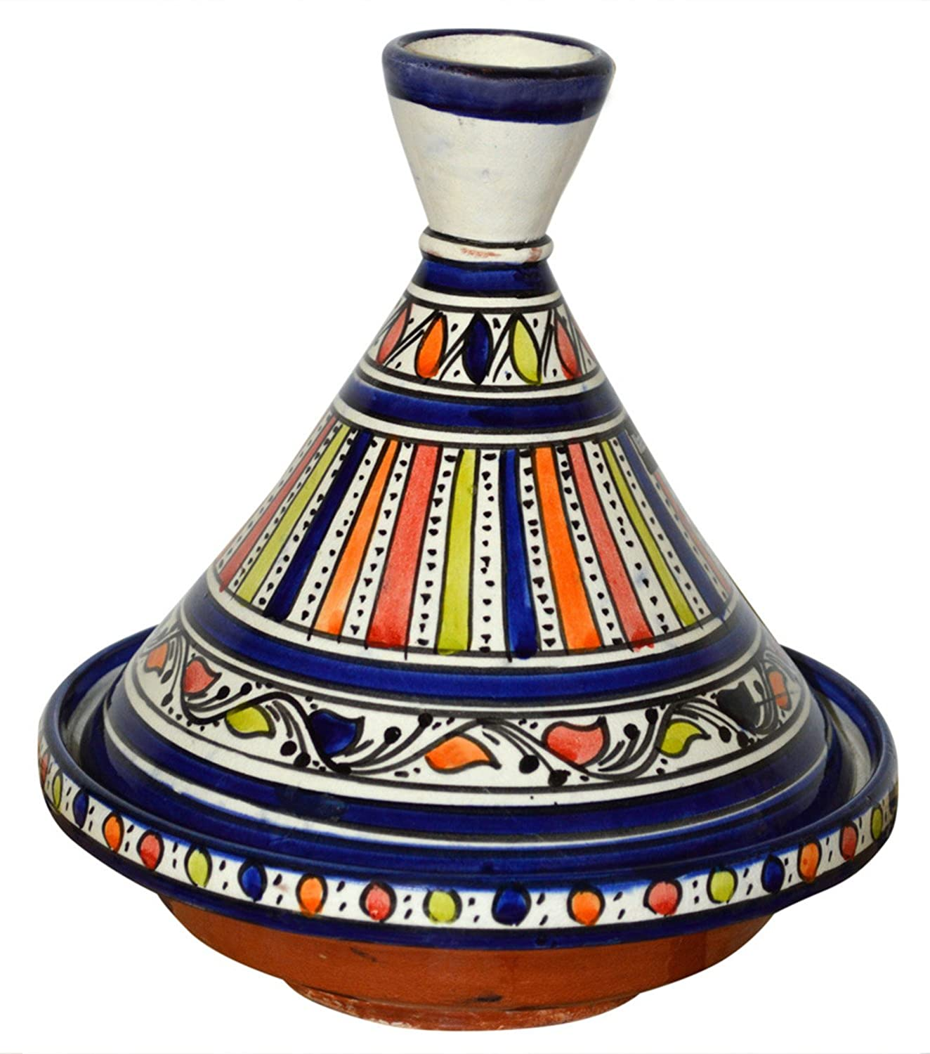 Moroccan Handmade Serving Tagine Exquisite Ceramic With Vivid colors Original 8 inches Across Treasures of Morocco 8