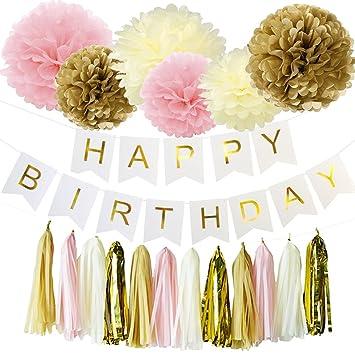 Wcaro White Happy Birthday Decorations Banner Hanging Tissue Paper Pom Poms Baby Pink Gold Cream
