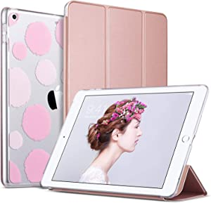 ULAK iPad 6th 5th Generation Case, Slim Trifold Lightweight iPad 9.7 2018/2017 Cases Smart Case Stand Auto Sleep/Wake Hard Back Clear Polka Dot Cover for iPad 9.7 iPad 5th / 6th Generation, Rose Gold
