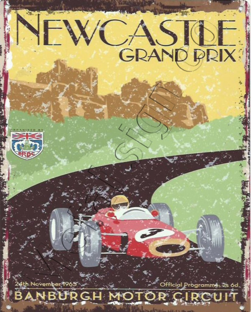 8 x 10in Newcastle Grand Prix Metal Sign Retro Vintage ...