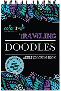 Spiral Bound Traveling Doodles Anti Stress Coloring Book For Adults Features Hand Drawn Designs To