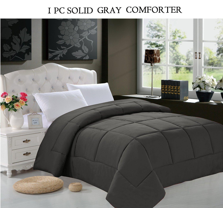 Elegant Comfort Luxury Goose Down Alternative Double Fill Comforter (Duvet Insert), FULL SIZE, Gray