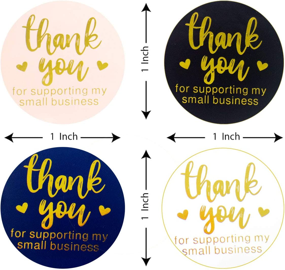 Multiple Color Golden Font Design Thank You Stickers 2 Thank You for Supporting My Small Business Stickers 500 Labels Each Roll