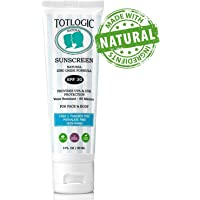 TotLogic Natural Mineral Sunscreen SPF 30, 3 oz   Biodegradable Reef Safe Zinc Oxide Organic Sunblock For Kids   Hypoallergenic, Water Resistant Non Nano Formula