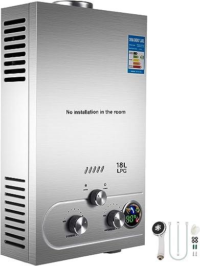 VEVOR 18L LPG Warmwasserbereiter Gas Propangas Durchlauferhitzer Warmwasserbereiter Boiler Warmwasserspeicher Tankless Instant mit Duschkopf und…