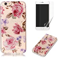 For iphone 6/6S Case with Pattern Pink Rose,OYIME Glitter Bling Design Ultra Thin Slim Fit Protective Back Cover Soft Silicone Rubber Shell Drop Protection Anti-Scratch Transparent Bumper and Screen Protector