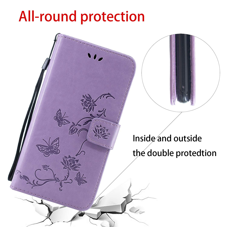 Herbests Coque Compatible pour Samsung Galaxy A9 2018 Housse en Cuir Etui avec Motif Coque /à Rabat Magn/étique Ultra Mince Anti Choc Porte-Cartes Coque de Protection,Noir