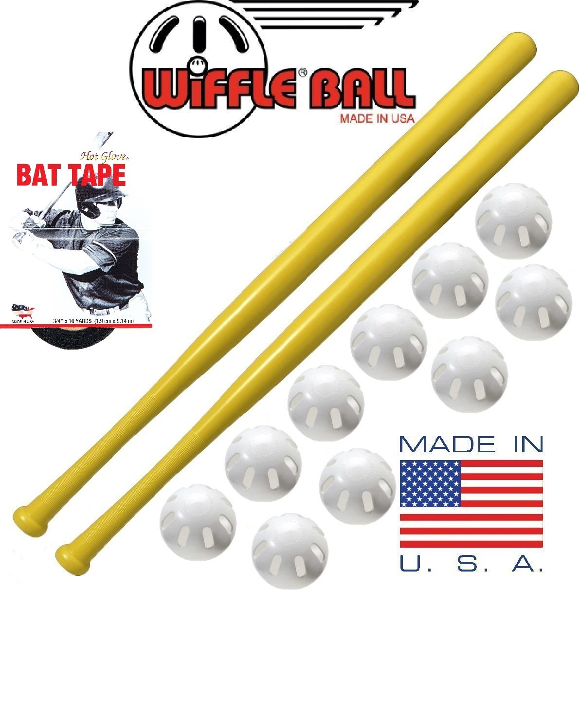 Wiffle Ball and Bat Combo Set, 10 Balls Baseballs, 2 Bats, 1 Roll Bat Tape by WIFFLE
