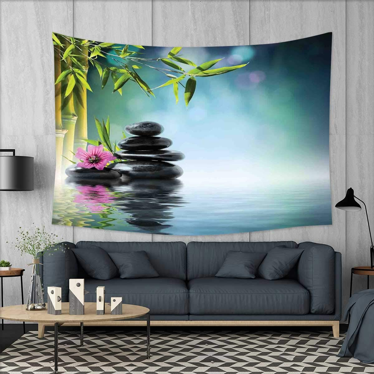 smallbeefly Zen Garden Customed Widened Tapestry Pink Flower Spa Stones and Bamboo Tree on The Water Relaxation Theraphy Peace Wall Hanging Tapestry 90''x60'' Multicolor
