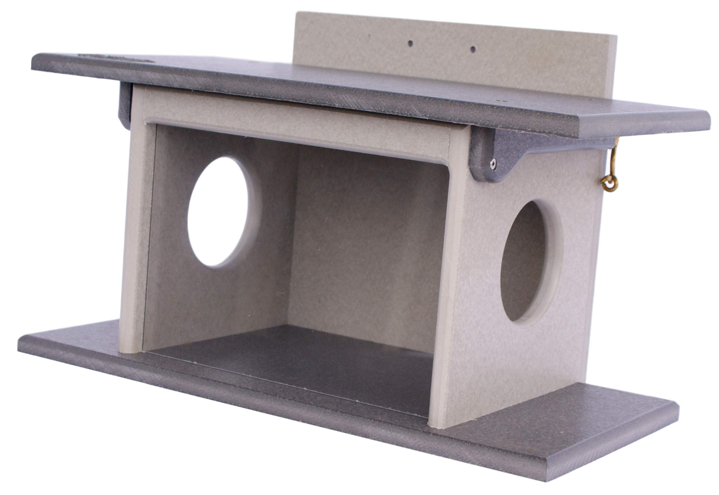 Amish-Made Squirrel House Feeder, Eco-Friendly Poly-Wood Post-Mount Decorative Feeder (Gray/Light Gray)