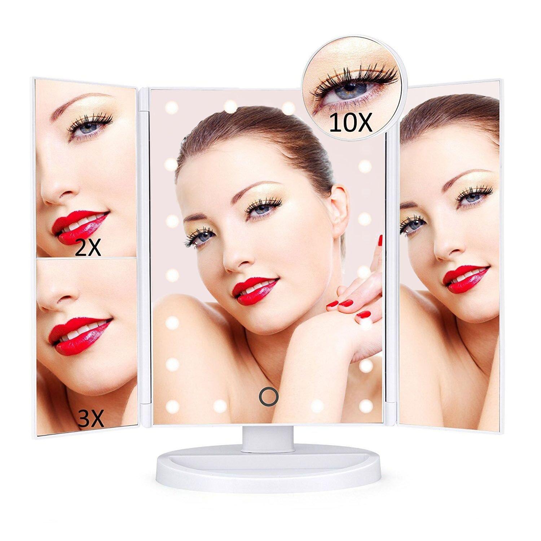 Specchio per Trucco, Rixow Ingranditore 10x/3x/2x/1x Specchio Trucco Illuminato con 21 Luci LED Regolabile Touch Screen con Rotazione 180°Tri-pieghevole Specchio Cosmetico Ideale per Regalo, Trucco, Rasatura, Viaggi - Bianco