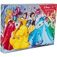 Sambro DSP14-6722 Adventskalender Disney Princess mit Schreibwaren, kleinen Spielzeugen und Stickern, für Kinder ab 3 Jahre, bunt