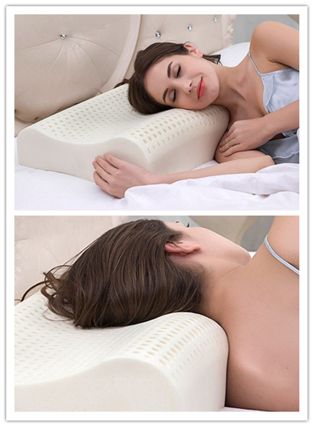 AILOVYO Standard Natural Latex Pillow with 100% Ventilated Latex Foam Filler Contoured Neck Support