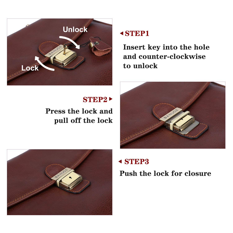 Banuce Vintage Full Grain Leather Briefcase for Men with Lock 14'' Laptop Tote Business Messenger Bag by Banuce (Image #5)