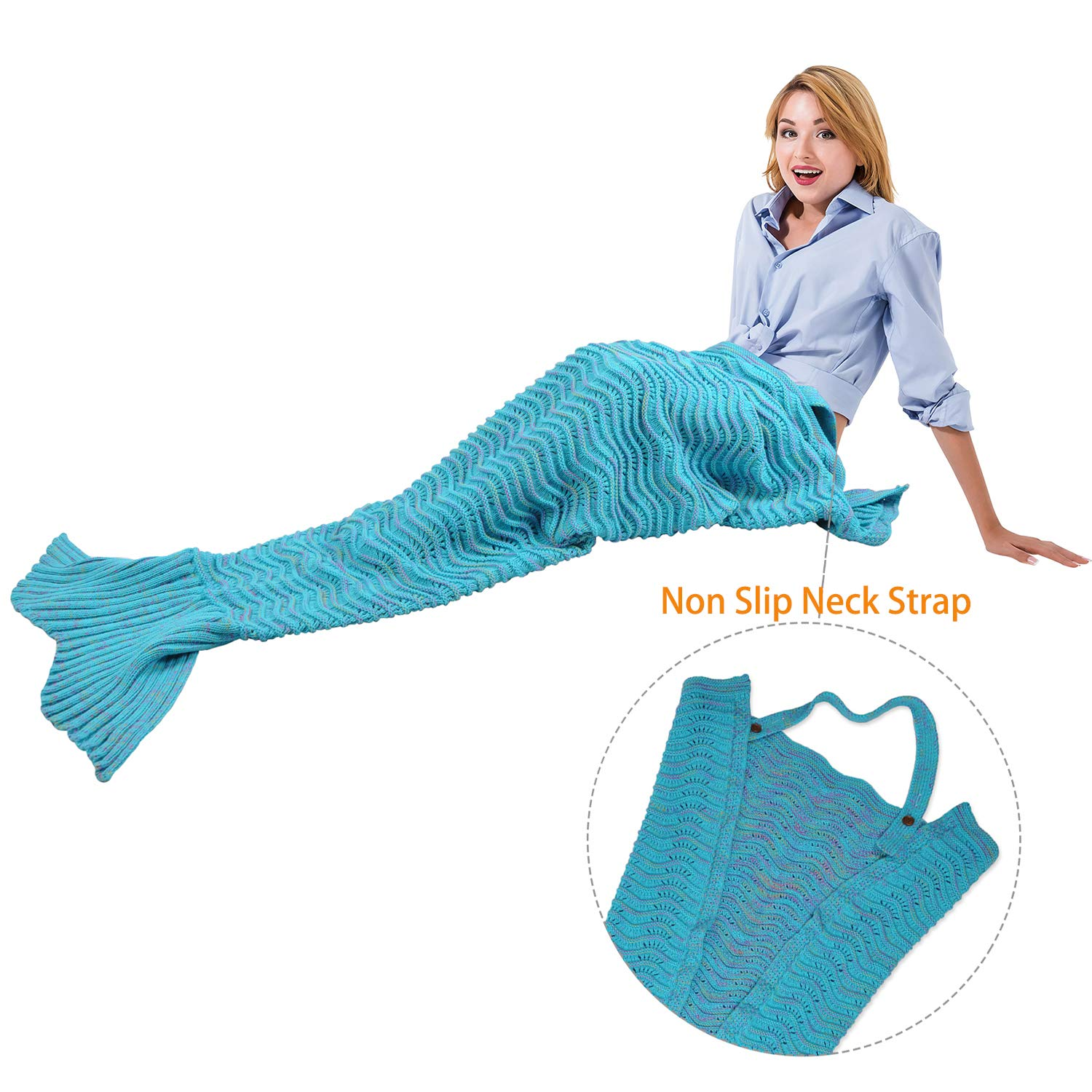 Mermaid Tail Blanket with Anti-Slip Neck Strap,Soft Knitted Mermaid Blanket Holiday Birthday Valentines Gift for Girls Women Adults Teens All Seasons Sleeping Bag Blue By Catalonia