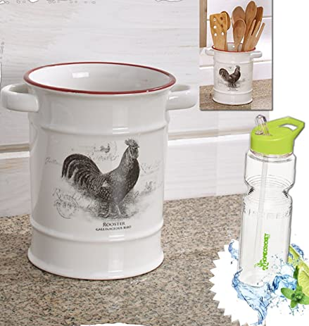 Gift Included  Country Rooster Or Cow Utensil Crock Farmhouse Kitchen  Cooking Decor + FREE Bonus