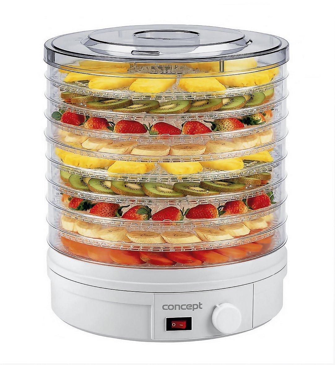 Concept Elettrodomestici SO1020 Essiccatore per Frutta, 9 Scomparti, 240 V, 245 W, 46 dB, Bianco [Classe di efficienza energetica A]