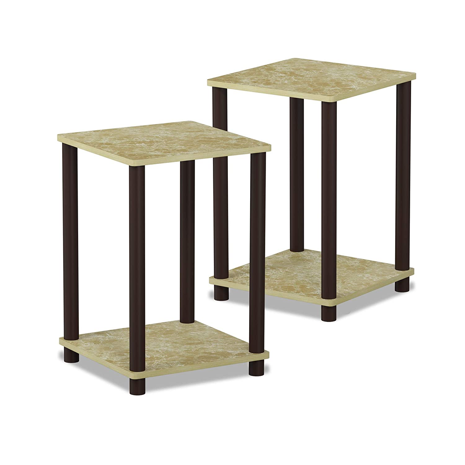Furinno 99800GYW/BK End Table 1-Pack French Oak Grey/Black