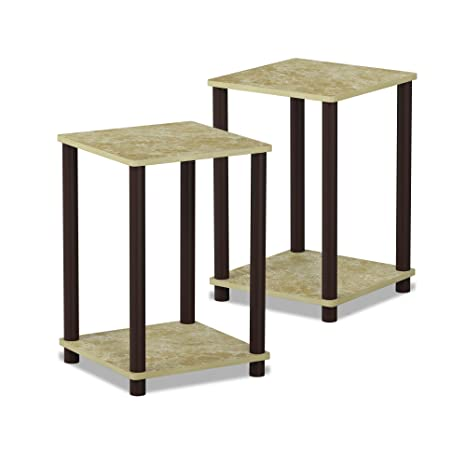 1ef6530dbfea98 Amazon.com: Furinno 2-99800BRM Turn-N-Tube Haydn 2-Pack End Table, Faux  Marble/Brown: Kitchen & Dining