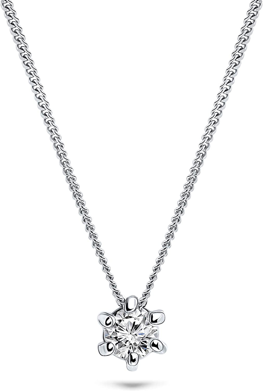 Miore - Cadena para mujer de 0,08 ct, solitario y diamante, oro blanco 585 de 14 quilates, longitud de 45 cm, joya con diamante brillante