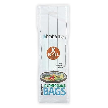 Brabantia Bolsas de Basura Biodegradables, Blanco, 10-12 L