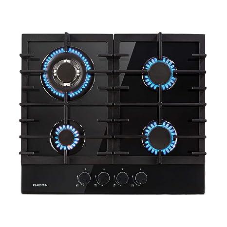 Klarstein Ignito 4 zonas Placa de cocina - 4 fogones, Autárquico, 60 cm, Para montar, Quemador Sabaf, Gas natural/propano, Válvula de seguridad, ...