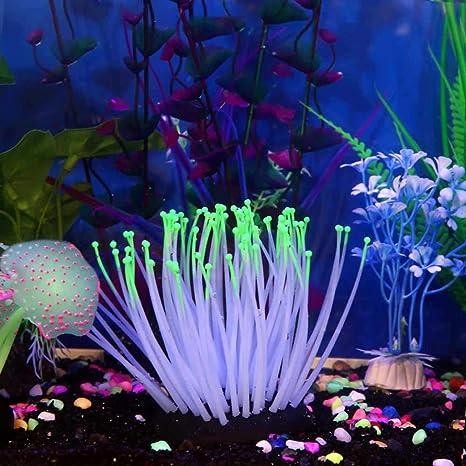 hunpta Adorno de silicona para acuario, acuario, acuario, pecera, coral artificial,