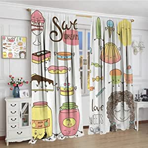 """youpinnong Sweet Dreams Room Darkening Curtains Teen Girl Dreaming About Sweets Food Doodle Characters Kawaii Cartoon Faces Blackout Draperies for Bedroom 96""""x84"""" Multicolor"""