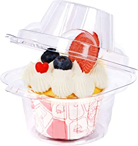 Cllayees 50 Pack Clear Plastic Single Cupcake Container, Individual Cake Box, BPA-Free Odor-Free Safe Holder, Perfect for Favor Party Birthday Wedding Holiday
