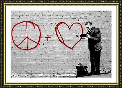 Amazon.com - Alonline Art Peace Love Doctor Banksy Gold FRAMED ...