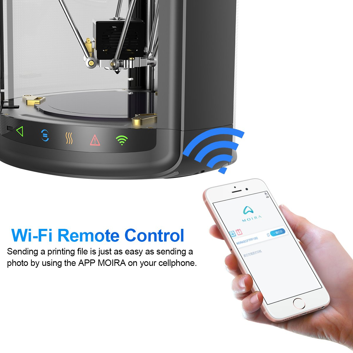 with Auto Calibration Printing Size /φ 150x175mm Desktop 3D Printer Fully Assembled for PLA Wisamic Delta 3D Printer WiFi Remote Control