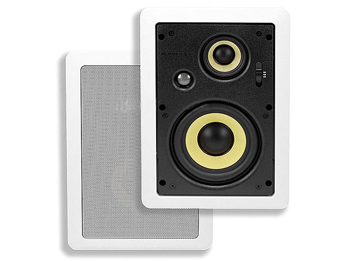 Monoprice 6.5-inch 3-way High Power In-Wall Speakers (Pair) - 80W Nominal, 160W Max