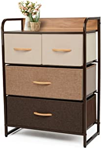 YOUNIS Dresser Organizer Cabinet Drawer Storage with 4 Drawers, Sturdy Steel Frame Storage Shelves, Wood Top Closet Storage, Easy Pull Fabric Bins - Organizer Unit for Homes, Offices, Dormitories