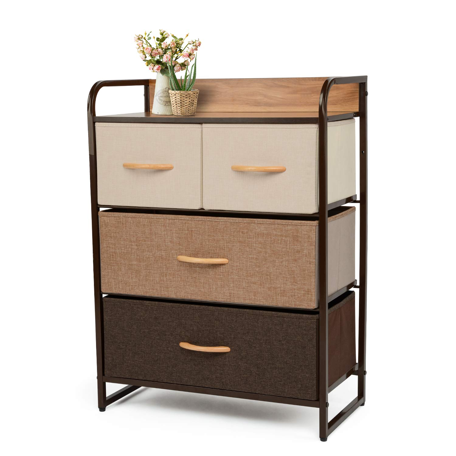 YOUNIS Dresser Organizer Cabinet Drawer Storage with 4 Drawers, Sturdy Steel Frame Storage Shelves, Wood Top Closet Storage, Easy Pull Fabric Bins - Organizer Unit for Homes, Offices, Dormitories by YOUNIS
