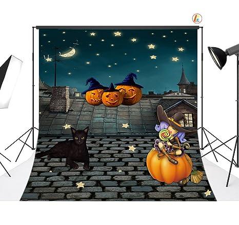 LOVE-BABY Vinilo Noche de Halloween Tema Pumkins y brujas y Gato negro Antecedentes 10x10ft