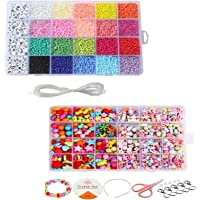 GrabMantra kids Seed beads kit, SET OF 2 BOXES, 3300 Beads with alphabets (24 grids) + 680 Pcs Beads craft Set for Kids…