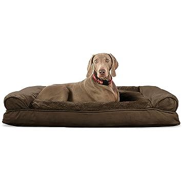Amazon Com Furhaven Pet Dog Bed Plush Suede Pillow Sofa Style