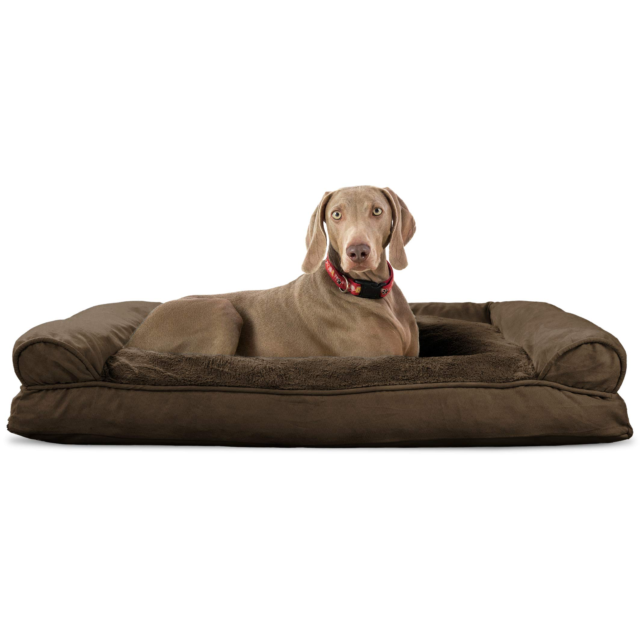FurHaven Pet Dog Bed | Plush & Suede Pillow Sofa-Style Couch Pet Bed for Dogs & Cats, Espresso, Jumbo