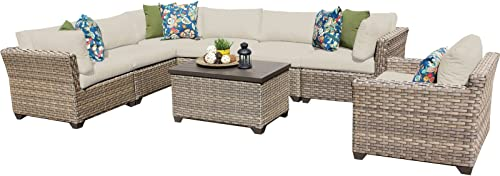 TK Classics Monterey 8 Piece Outdoor Wicker Patio Furniture Set 08b